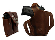 New Brown Leather Pancake Gun Holster + Double Magazine Pouch Combo for Mini/Pocket .22 .25 .32 .380 Pistols (#C57sBR)