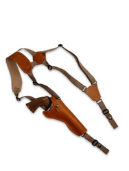 "New Saddle Tan Leather Vertical Cross Harness Gun Shoulder Holster for 6"" Revolvers (63/6ST)"