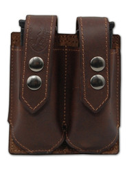 New Brown Leather Double Magazine Pouch (#BRMAG2)