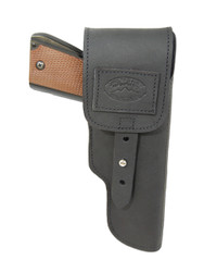 New Black Leather Flap Gun Holster for Full Size 9mm .40 .45 Pistols (202FBL)