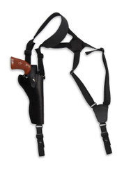 "New Black Leather Vertical Cross Harness Gun Shoulder Holster for 6"" Revolvers (63/6BL)"