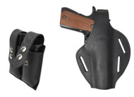 New Black Leather Pancake Gun Holster + Double Magazine Pouch Combo for Full Size 9mm 40 45 Pistols (#C58-5BL)