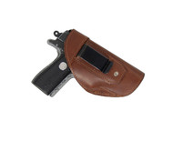 New Brown Leather Inside the Waistband (IWB) Gun Holster for Small 380, Ultra-Compact 9mm 40 45 Pistols (#68/4BR)