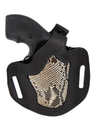 "New Black Leather Python Snake Skin Inlay Pancake Gun Holster for .22 .38 .357 2"" Revolvers (#SN54BL)"