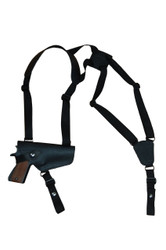 New Black Leather Horizontal Cross Harness Shoulder Gun Holster for Full Size 9mm 40 45 Pistols (32HORBL)