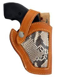 "New Saddle Tan Leather Python Snake Skin Inlay Side Gun Holster for 2"" Snub Nose Revolvers (#SN53-2ST)"