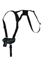 New Black Leather Horizontal Cross Harness Shoulder Gun Holster for Mini/Pocket 22 25 380 Pistols (49HORBL)