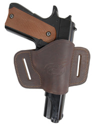 New Brown Leather Belt Quick Slide Gun Holster for Full Size 9mm 40 45 Pistols (#108FBR)