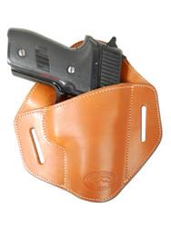 New Saddle Tan Leather Pancake Belt Slide Gun Holster for Full Size 9mm 40 45 Pistols (#222/5ST)