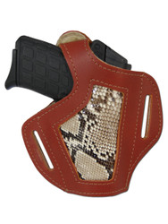New Burgundy Leather Python Snake Skin Inlay OWB Pancake Gun Holster for Small 380, Ultra Compact 9mm 40 45 Pistols (#SN57BU)
