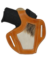 New Saddle Tan Leather Hair on Hide Inlay OWB Gun Holster for Small 380, Ultra Compact 9mm 40 45 Pistols (#H57ST)