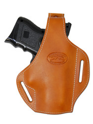 New Saddle Tan Leather Pancake Gun Holster for Compact Sub-Compact 40 45 Pistols (#59ST)