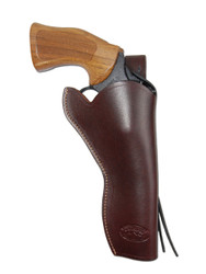 "New Burgundy Leather 49er Style Outside the Waistband (OWB) Gun Holster for  6"" Revolvers (#446BU)"