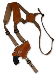 "New Saddle Tan Leather Horizontal Cross Harness Shoulder Gun Holster for 2"" Snub Nose Revolvers (63/2ST)"