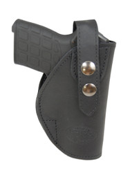 New Black Leather OWB Belt Gun Holster for .380, Ultra-Compact 9mm 40 45 Pistols (#12BL)