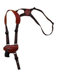New Burgundy Leather Horizontal Cross Harness Shoulder Gun Holster for Mini/Pocket 22 25 380 Pistols (49HORBU)