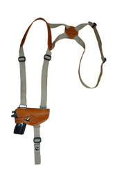 New Saddle Tan Leather Horizontal Cross Harness Shoulder Gun Holster for Mini/Pocket 22 25 380 Pistols (49HORST)