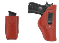 New Burgundy Leather Inside the Waistband Gun Holster + Single Magazine Pouch for Full Size 9mm 40 45 Pistols (#C68-32BU)