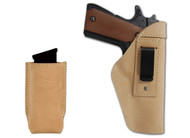 New Natural Tan Leather Inside the Waistband Gun Holster + Single Magazine Pouch for Full Size 9mm 40 45 Pistols (#C68-32NT)