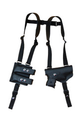 New Barsony Black Leather Horizontal Gun Shoulder Holster with Double Magazine Pouch for Compact Sub-Compact 9mm .40 .45 Pistols (#2200BL)