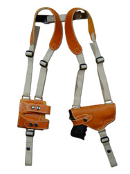 New Barsony Saddle Tan Leather Horizontal Gun Shoulder Holster with Double Magazine Pouch for Compact Sub-Compact 9mm .40 .45 Pistols (#2200ST)