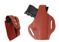 New Burgundy Leather Pancake Gun Holster + Double Magazine Pouch Combo for Compact 9mm 40 45 Pistols (#C59BU)