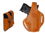 New Saddle Tan Leather Pancake Gun Holster + Double Magazine Pouch Combo for Compact 9mm 40 45 Pistols (#C59ST)