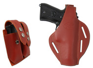 New Burgundy Leather Pancake Gun Holster + Double Magazine Pouch Combo for Full Size  9mm 40 45 Pistols (#C58-5BU)