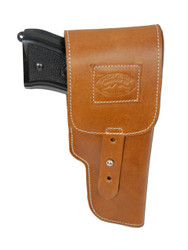 New Saddle Tan Leather Flap Gun Holster for Full Size 9mm .40 .45 Pistols (202FST)