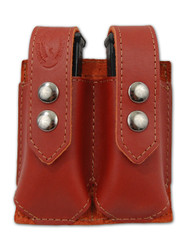 New Burgundy Leather Double Magazine Pouch (#BUMAG2)