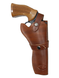 "New Brown Leather Western Style Gun Holster for 6"" Revolvers (#45-6BR)"