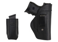New Black Leather Inside the Waistband Gun Holster + Single Magazine Pouch for Compact Sub-Compact 9mm 40 45 (#C68-22BL)