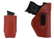 New Burgundy Leather Inside the Waistband Gun Holster + Single Magazine Pouch for Compact Sub-Compact 9mm 40 45 Pistols (#C68-22BU)