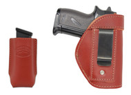 New Burgundy Leather Inside the Waistband Gun Holster + Single Magazine Pouch for Mini/ Pocket 22 25 32 380 Pistols (#C68/4sBU)