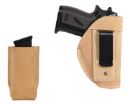 New Natural Tan Leather Inside the Waistband (IWB) Gun Holster + Single Magazine Pouch for Mini/Pocket 22 25 32 380 Pistols (#C68/4sNT)