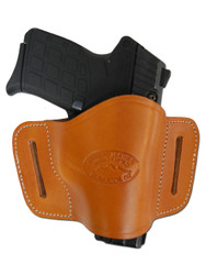 New Saddle Tan Leather Belt Quick Slide Gun Holster for Small 380 Ultra Compact 9mm 40 45 Pistols (#108SCST)