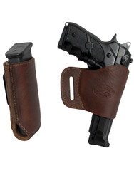 New Brown Leather Yaqui Gun Holster + Single Magazine Pouch for Full Size 9mm 40 45 Pistols (#C21BR)