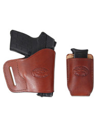 New Burgundy Leather Yaqui Gun Holster + Single Magazine Pouch for Compact Sub-Compact 9mm 40 45 Pistols (#C20BU)