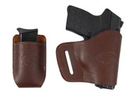 New Brown Leather Yaqui Gun Holster + Single Magazine Pouch for Small 380 Ultra Compact 9mm 40 45 Pistols (#C19BR)