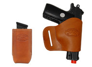 New Saddle Tan Leather Yaqui Gun Holster + Single Magazine Pouch for Small 380 Ultra Compact 9mm 40 45 Pistols (#C19ST)