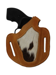 "New Saddle Tan Leather Hair on Hide Inlay OWB Pancake Gun Holster for .22 .38 .357 2"" Snub Nose Revolvers (#H54ST)"