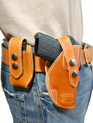 New Saddle Tan Leather OWB Belt Gun Holster + Single Magazine Pouch for .380, Ultra-Compact 9mm 40 45 Pistols (#C12ST)