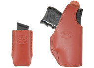 New Burgundy Leather OWB Side Gun Holster + Single Magazine Pouch for Compact Sub-Compact 9mm 40 45 (#C16BU)