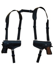 New Black Leather Concealment Horizontal 2 Gun Shoulder Holster for Full Size 9mm 40 45 Pistols (#2X32BL)