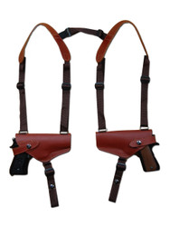 New Burgundy Leather Concealment Horizontal 2 Gun Shoulder Holster for Full Size 9mm 40 45 Pistols (#2X32BU)