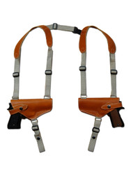 New Saddle Tan Leather Concealment Horizontal 2 Gun Shoulder Holster for Full Size 9mm 40 45 Pistols (#2X32ST)