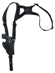 "New Black Leather Vertical Cross Harness Shoulder Gun Holster for 2"" Snub Nose Revolvers (63/2BLVR)"