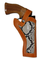 """New Python Snake Skin Inlay Saddle Tan Leather Western Style Gun Holster for 4"""" Revolvers (#SN45A-4ST)"""