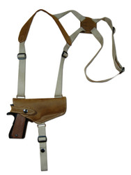 New Olive Drab Leather Horizontal Cross Harness Shoulder Gun Holster for Full Size 9mm 40 45 Pistols (32HOROD)
