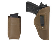 New Olive Drab Leather Inside the Waistband Gun Holster + Single Magazine Pouch for Full Size 9mm 40 45 Pistols (#C68-32OD)